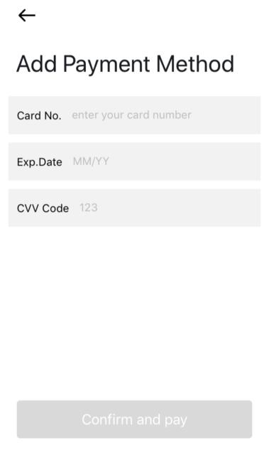 クレジットカード番号入力